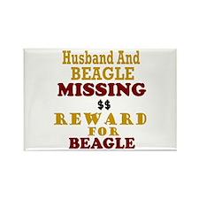 Husband & Beagle Missing Rectangle Magnet