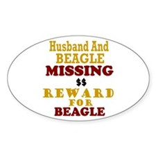 Husband & Beagle Missing Oval Decal