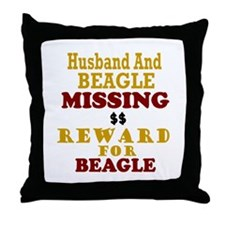 Husband & Beagle Missing Throw Pillow