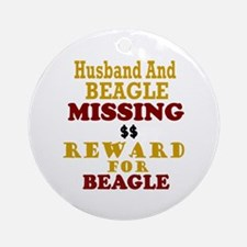 Husband & Beagle Missing Ornament (Round)