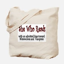 She Reads Tote Bag