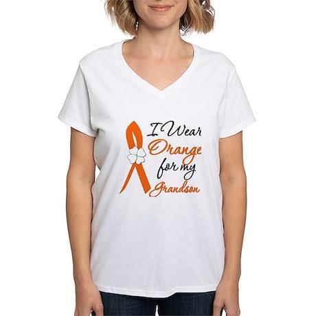 I Wear Orange For My Grandson Women's V-Neck T-Shi