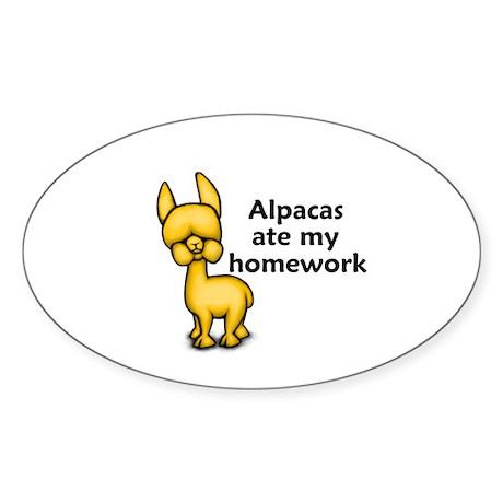 Alpacas ate my Homework Oval Sticker (10 pk)