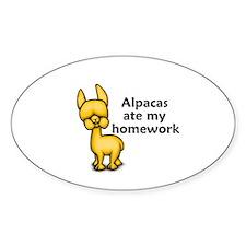 Alpacas ate my Homework Oval Decal