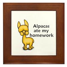Alpacas ate my Homework Framed Tile