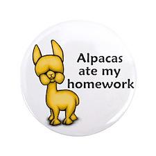 "Alpacas ate my Homework 3.5"" Button (100 pack)"