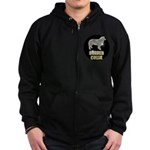 Bling Border Collie Zip Hoodie (dark)