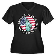 America Free and Brave Women's Plus Size V-Neck Da