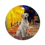Cafe & Yellow Lab Ornament (Round)