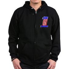 USA 1 VINTAGE CHROME EMBLEM Zip Hoodie