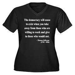 Thomas Jefferson 3 Women's Plus Size V-Neck Dark T