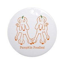 Pumpkin Poodle Ornament (Round)