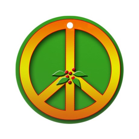 Peace Sign with Holly Christmas Holiday Ornament
