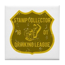 Stamp Collector Drinking League Tile Coaster