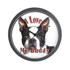 Boston Terrier Buddy Wall Clock