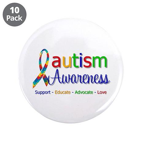 """Autism Awareness 3.5"""" Button (10 pack)"""