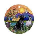 Black Lab Fantasy Land Ornament (Round)