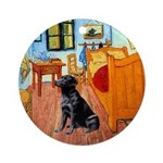 Van Gogh's Room + Black Lab Ornament (Round)
