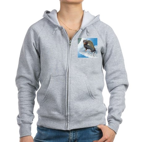Angel Dachshund Dogs Women's Zip Hoodie