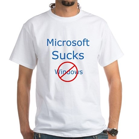 Microsoft Sucks, Linux Rocks White T-Shirt