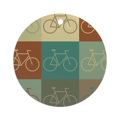 Bicycling Pop Art Ornament (Round)