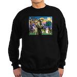 St Francis /Welsh Corgi (p) Sweatshirt (dark)