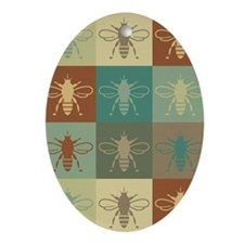 Bees Pop Art Oval Ornament