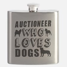 Auctioneer Who Loves Dogs Flask