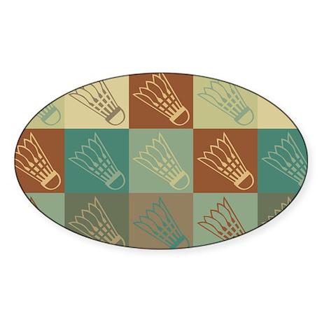 Badminton Pop Art Oval Sticker