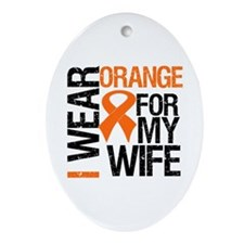 I Wear Orange For My Wife Oval Ornament