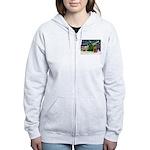 XmasMagic/Cocker (Brn) Women's Zip Hoodie