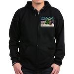 XmasMagic/Cocker (Brn) Zip Hoodie (dark)