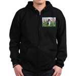 Blossoms / Collie (tri) Zip Hoodie (dark)