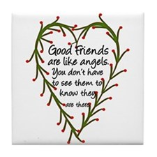 Friends Are Like Angels Tile Coaster
