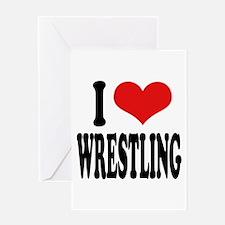 I Love Wrestling Greeting Card