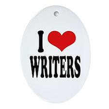 I Love Writers Oval Ornament