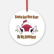 Santa Run Over Ornament (Round)