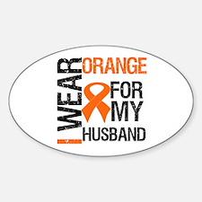 I Wear Orange For My Husband Oval Sticker (10 pk)