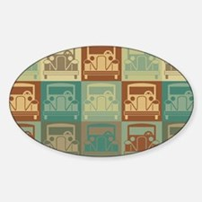 Antique Cars Pop Art Oval Decal