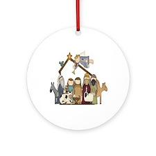Manger Scene Ornament (Round)