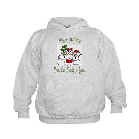 Snowman Family Holiday Wishes Kids Hoodie