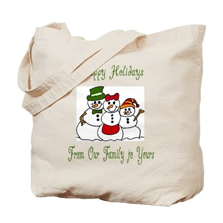 Snowman Family Holiday Wishes Tote Bag