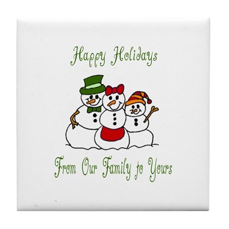 Snowman Family Holiday Wishes Tile Coaster