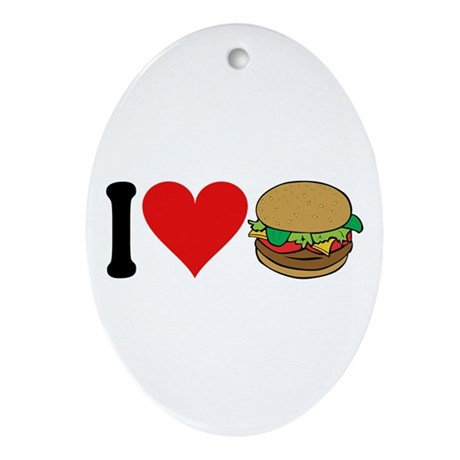 I Love Hamburgers (design) Oval Ornament