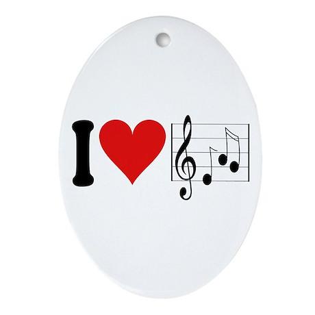 I Love Music (design) Oval Ornament