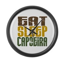 Eat Sleep Capoeira Large Wall Clock