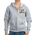 Basset in the Garden Women's Zip Hoodie