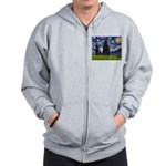 Starry Night /Belgian Sheepdog Zip Hoodie