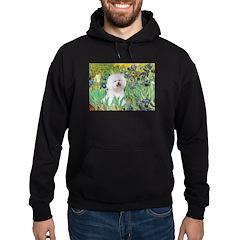 Irises and Bichon Hoodie (dark)