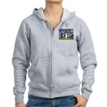 Starry Night Border Collie Women's Zip Hoodie